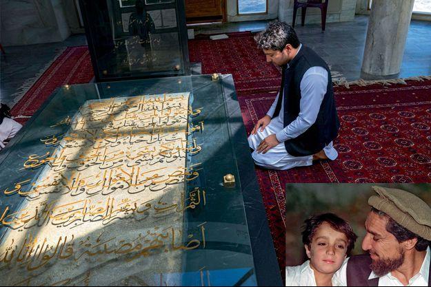 """Sa boussole : se recueillir sur la tombe du héros, à Saricha. En calligraphie, or: """"Son âme a plongé ses lèvres dans la coupe du martyre et elle est remontée auprès de son Dieu."""" En médaillon: AHmad à 8 ans avec son père."""