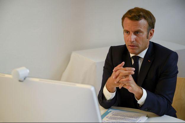 Emmanuel Macron lors de la visioconférence internationale d'aide au Liban le 9 août 2020