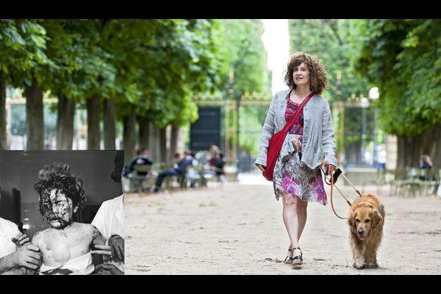 En médaillon: Delphine Renard, fillette, victime de l'attentat qui visait le domicile d'André Malraux, le 7 février 1962. Mai 2012. Phèdre, son chien guide, l'accompagne chaque jour dans le jardin du Luxembourg.