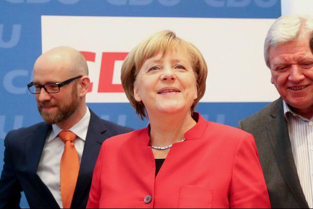 Angela Merkel lors de la réunion avec les cadres du CDU, à Berlin.
