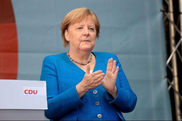 Angela Merkel lors d'un meeting à Aix-la-Chapelle le 25 septembre.