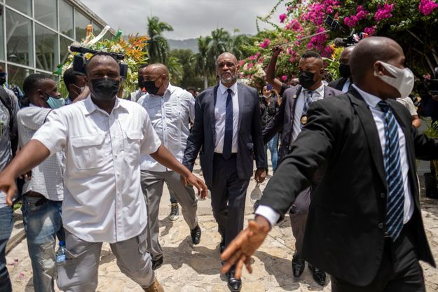 Ariel Henry, nouveau Premier ministre haïtien, lors de la cérémonie marquant l'installation de son gouvernement à Port-au-Prince, mardi 21 juillet 2021.
