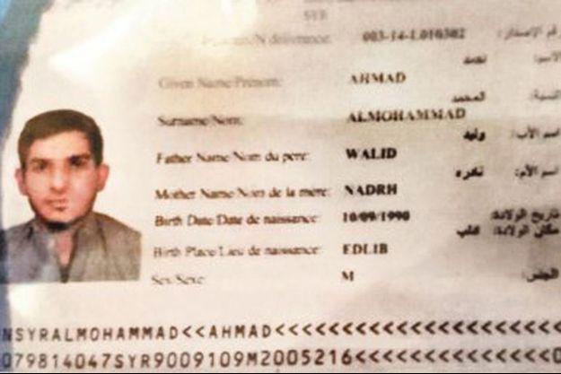 Le passeport retrouvé porterait le nom d'Ahmad Almuhammad.