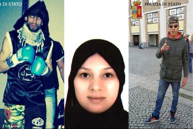 Abderrahim Moutahrrick, Salma Bencharki et Abderrahmane Khachia. La photo du quatrième homme n'a pas été diffusée.