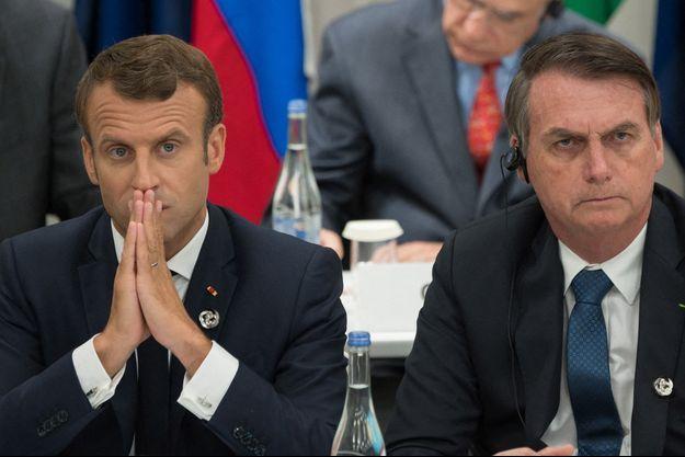 Emmanuel Macron et Jair Bolsonaro ici en juin 2019 lors d'un sommet à Osaka.