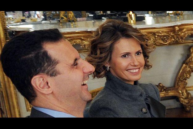 Asma et Bachar el-Assad à l'Elysée, le 9 décembre.