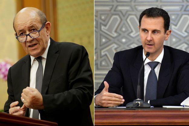 Jean-Yves Le Drian et Bachar al-Assad