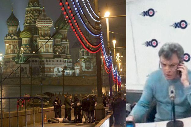 A g.: Des policiers autour de la dépouille, sur le pont Moskvoretski. A l'arrière-plan, la cathédrale Saint-Basile-le-Bienheureux. A d.: Boris Nemtsov a donné son ultime interview dans les locaux d'Echo de Moscou, une radio indépendante du pouvoir.