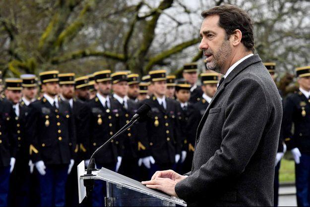 Christophe Castaner lors de son déplacement à Saint-Astier (Dordogne), pour les 50 ans du Centre national d'entraînement des forces de gendarmerie.