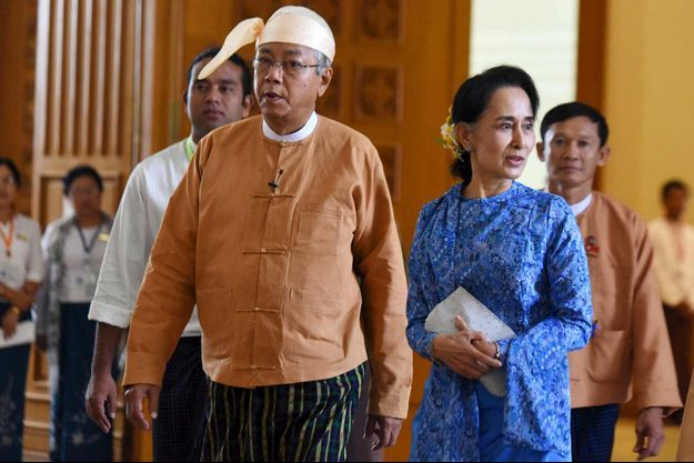Le président birman Htin Kyaw et Aung San Suu Kyi.