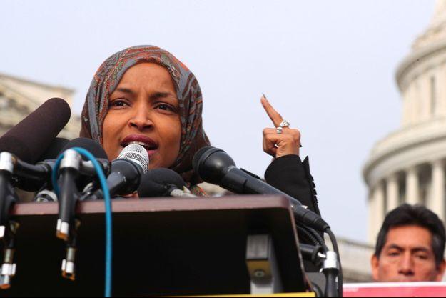 Ilhan Omar lors d'une conférence de presse devant le Capitole, le 7 février.