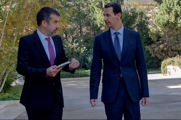 Régis Le Sommier and Bachar el-Assad in Damas.