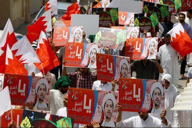 Une manifestation appelant à la libération d'Ali Salmane et d'autres leaders de l'opposition, le 13 mai dernier à Diraz au Bahreïn.