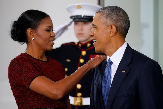 Michelle et Barack Obama pendant l'investiture de Donald Trump en janvier dernier.