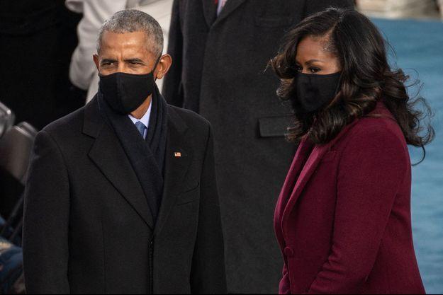 Barack et Michelle Obama lors de l'investiture de Joe Biden à Washington le 20 janvier 2021