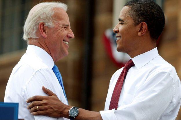 Joe Biden et Barack Obama lors de leur première campagne ensemble, en août 2008.