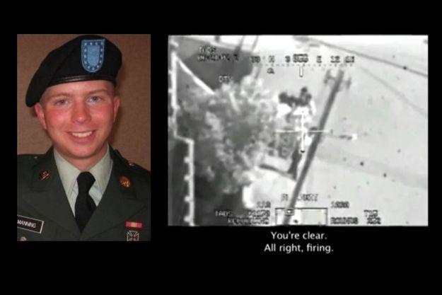 Bradley Manning et une capture d'écran de la vidéo en question.