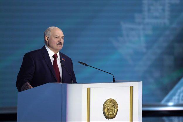 Alexandre Loukachenko lors de son discours à la nation, à Minsk, le 4 août.