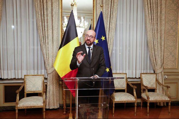 Le Premier ministre belge Charles Michel lors d'une conférence de presse, samedi 8 décembre.