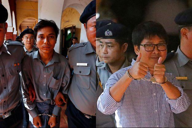 Kyaw Soe Oo et Wa Lone, les deux journalistes de Reuters emprisonnés en Birmanie.