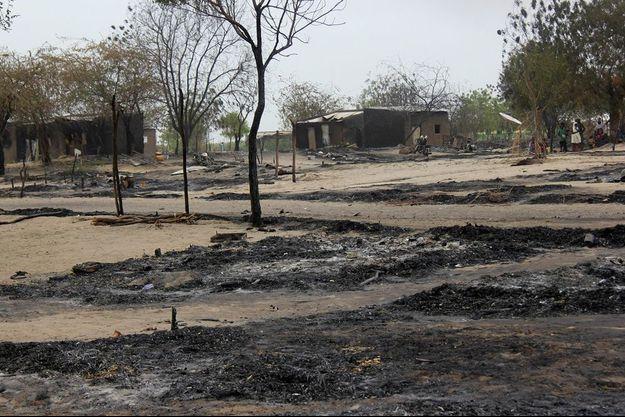La ville de Baga dévastée par les flammes.