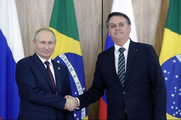 Vladimir Poutine et Jair Bolsonaro en novembre 2019.