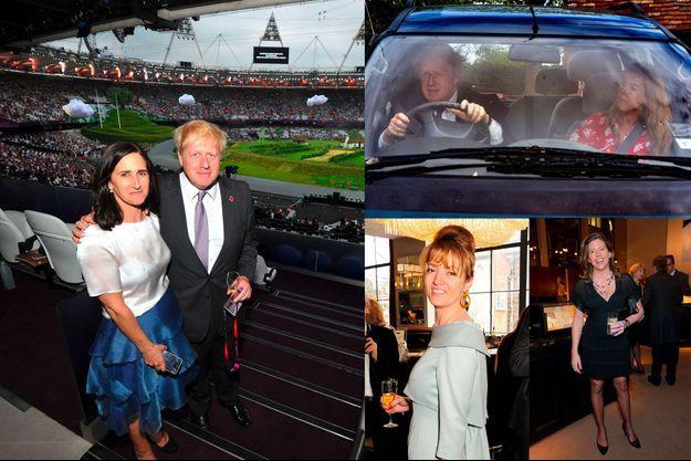De g. à dr. et de haut en bas: Boris Johnson avec sa seconde épouse, Marina Wheeler. En voiture avec sa petite amie Carrie Symonds. Petronella Wyatt. Helen Macintyre.