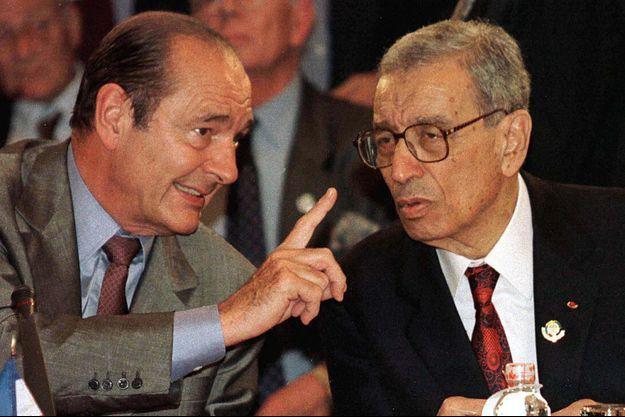 Jacques Chirac avec Boutros Boutros Ghali en 1997.