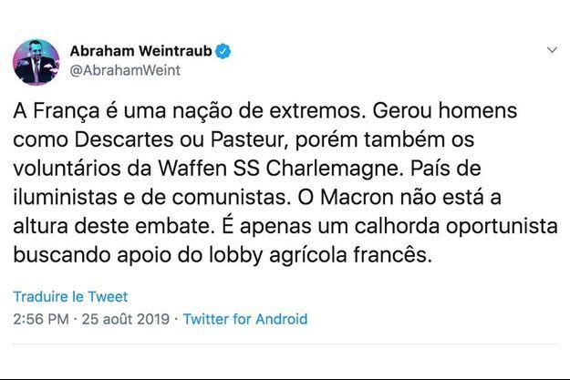 L'un des tweets injurieux postés par le ministre de l'Education brésilien.