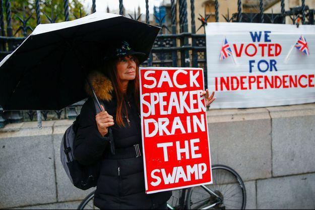 """Une manifestante pro-Brexit demande le limogeage du président de la Chambre des communes et, reprenant un slogan de Donald Trump, appelle à """"assécher le marais"""", lundi à Londres."""