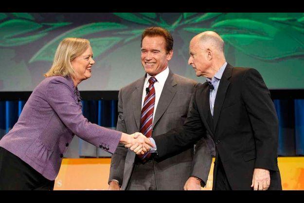 Meg Whitman Arnold Schwarzenegger et Jerry Brown.