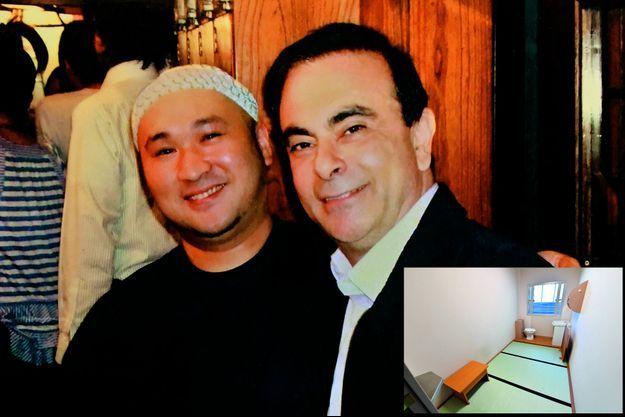 Avec Jun Miyaji, patron du restaurant Kushiwaka de Tokyo, où il a ses habitudes. Quelques jours après le coup de tonnerre, la photo de Carlos Ghosn y trônait encore. En médaillon, Le P-DG aux multiples appartements de luxe passe sa garde à vue au centre pénitentiaire de Kosuge. Pas de quartier VIP mais une cellule de 6 mètres carrés et 3 tatamis.