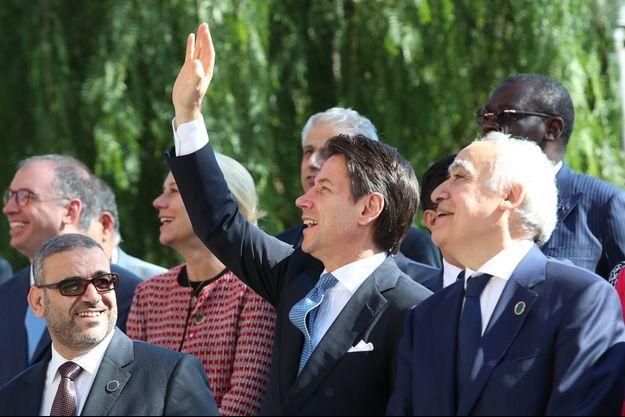 Le Premier ministre italien Giuseppe Conte et l'émissaire des Nations Unies pour la Libye Ghassan Salamé (à dte)