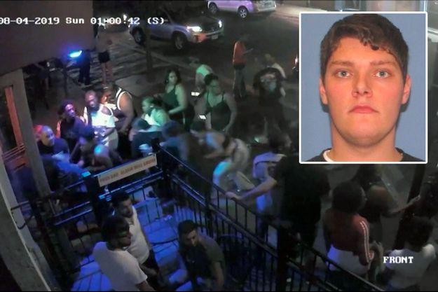 Une image de vidéosurveillance de la tuerie de Dayton dans l'Ohio. En médaillon, un cliché diffusé par la police de Dayton montrant le suspect Connor Betts.