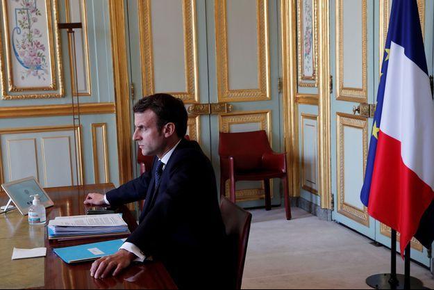 Emmanuel Macron participant jeudi au G20 virtuel.