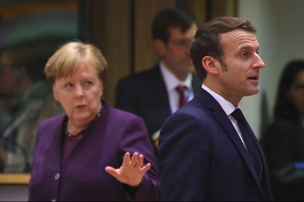 Angela Merkel et Emmanuel Macron, le 20 février dernier à Bruxelles.
