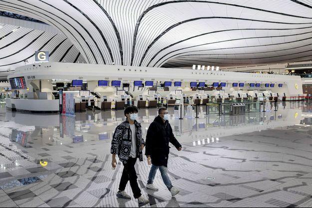 Dans le gigantesque aéroport international de Pékin-Daxing, le 14 février.