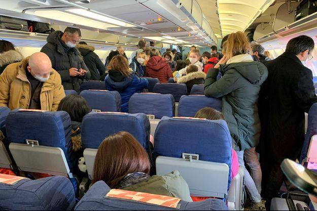 Premier avion de rapatriement provenant de Chine vers la France, le 30 janvier 2020.