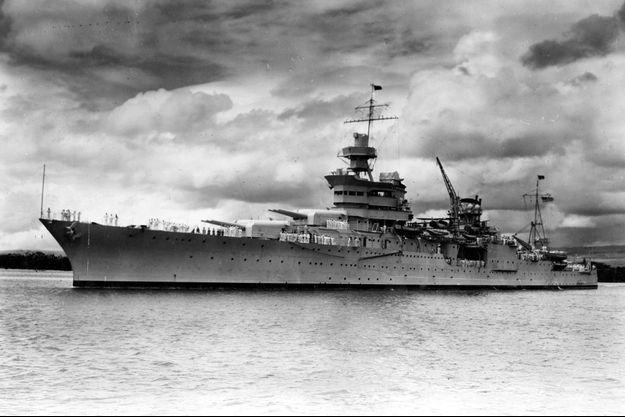 """L'""""USS Indianapolis"""" photographié en 1937. Le navire, coulé en 1945, vient d'être retrouvé."""