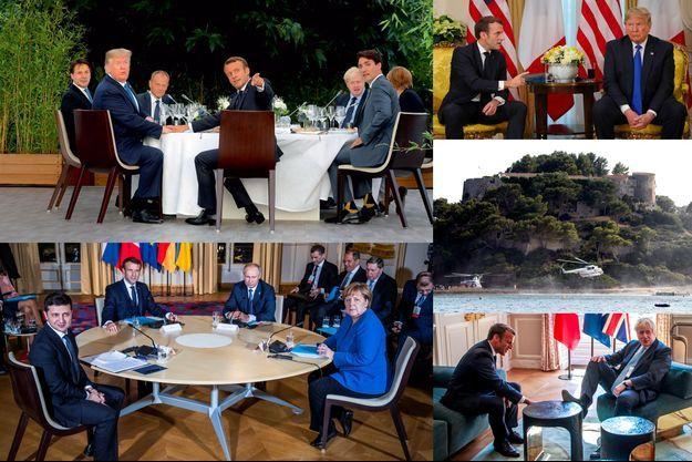 """A g. en h. : Emmanuel Macron et les leaders du G7 à Biarritz, le 24 août. A g. en b. : sommet au format """"Normandie"""" à l'Elysée, avec les dirigeants russe, ukrainien, français et allemand le 9 décembre. A dr., de h. en b. : Emmanuel Macron et Donald Trump au sommet de l'Otan, le 3 décembre. Arrivée de l'hélicoptère de Vladimir Poutine au Fort de Brégançon le 19 août. Echange entre Boris Johnson et Emmanuel Macron à l'Elysée le 22 août."""