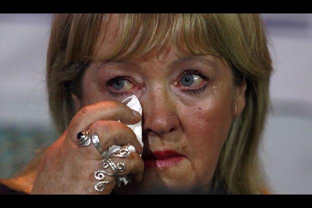 Maureen, l'une des survivantes des blanchisseries Madeleine, lors d'une conférence de presse mardi.