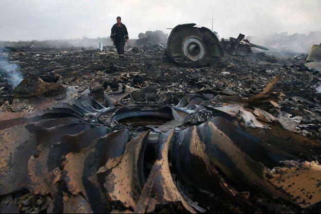 Les débris du Boeing 777 dans la région de Donetsk, en Ukraine.