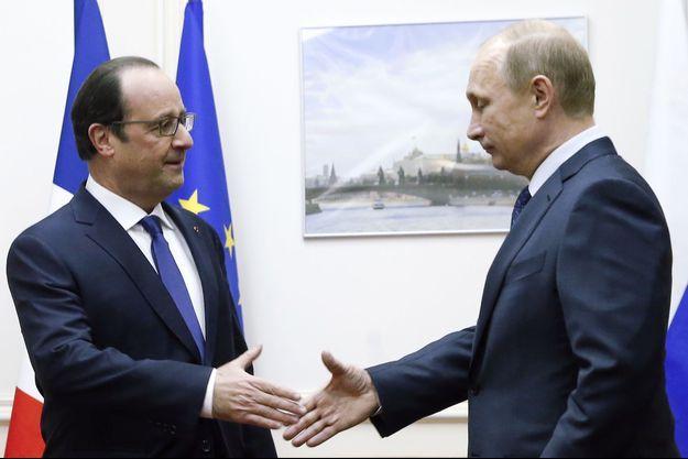 François Hollande et Vladimir Poutine aujourd'hui, samedi 6 décembre, à Moscou.