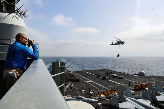 A bord de l'USS Abraham Lincoln, dans le Golfe, en août 2019.