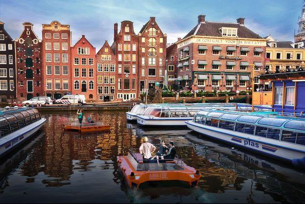 Image de synthèse de Roboat sur un canal d'Amsterdam