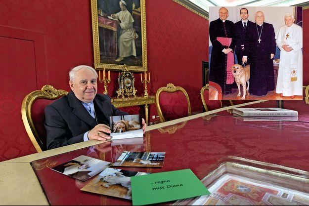 À la tête de la prestigieuse administration du patrimoine du Siège apostolique (Apsa), le cardinal Calcagno conserve les photos de sa chienne dans une enveloppe baptisée « règne de miss Diana ». En médaillon : Diana était de tous les rendez-vous, y compris pontificaux, comme ici, avec le pape émérite Benoît XVI.