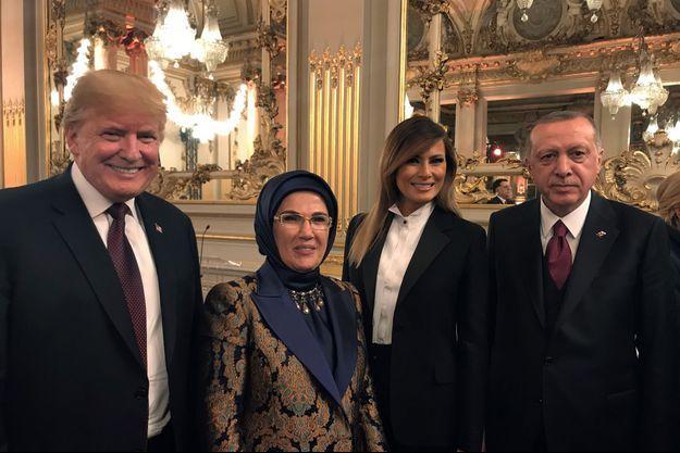 Donald et Melania Trump, ici en compagnie du président turc Recep Erdogan et de son épouse.