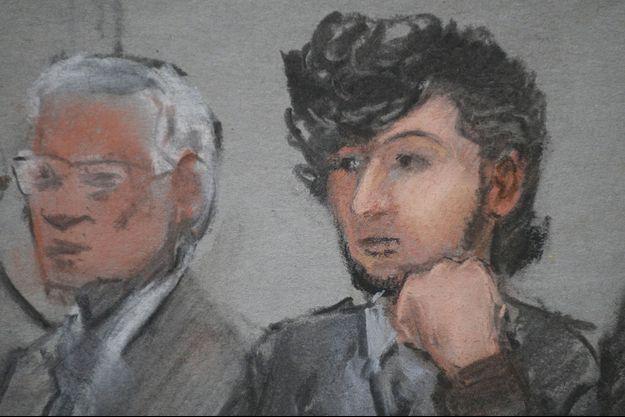 Dzhokhar Tsarnaev dessiné au premier jour de la sélection des jurés, le 5 janvier dernier.