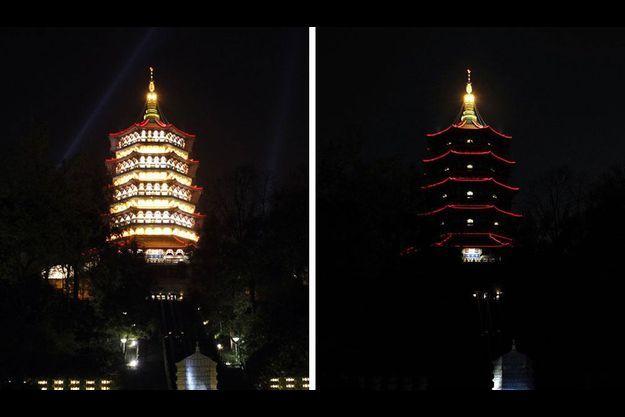 La pagode Leifeng, à Hangzhou, en Chine.
