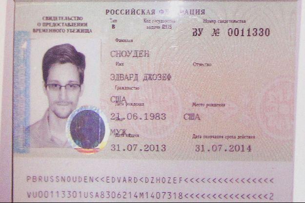 Le passeport russe d'Edward Snowden, valable un an.